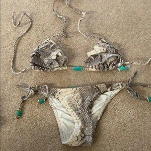 Vix python bikini xs/s jewel detail cheeky swim